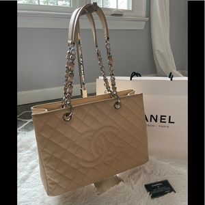 CHANEL GST Beige Quilted Caviar Leather Grand Tote